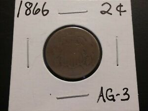 1866 Two (2) Cent Coin