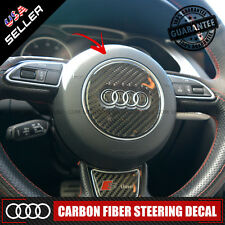 Carbon Fiber Audi Steering Wheel Logo Decal Badge Sticker Emblem Decoration