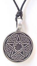 Pewter CELTIC PENTAGRAM Pendant on Black Cord Necklace Nickel Free Pentacle Knot