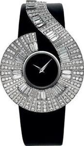 Solid 925 Sterling Silver women's wrist watch Baguette Dial Black Vegan belt