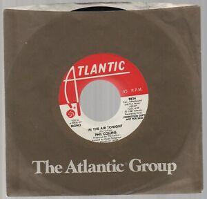 "PHIL COLLINS Atlantic 3824 7"" Promo DJ 45 IN THE AIR TONIGHT (Mono~Stereo)"