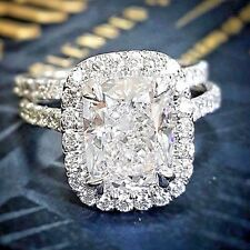 GIA Certified 2.21 Ct Cushion Cut Diamond Halo Engagement Bridal Ring Set D, VS1