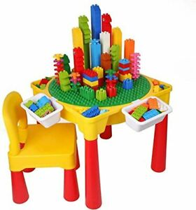 Toddler Yellow Activity Table Chair Set Block Construction Kids Play Desk Toy