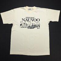 VTG HISTORIC NAUVOO CLASSIC CREAM SINGLE STITCH USA 80s 90s T SHIRT L