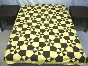 Vintage Brown & Yellow Hearts & Gizzards Design Quilt Top
