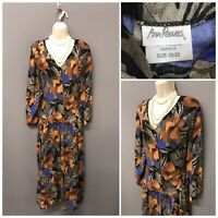 Vintage Ann Reeves Floral Retro Dress UK 20 EUR 48 Made in UK