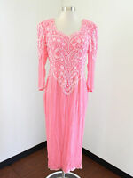 Vtg Alyce Designs Pink Silk Beaded Sequin Midi Evening Formal Party Dress 12 / M