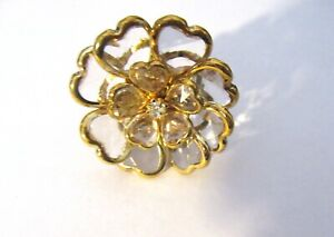Fashion stretch ring- FLOWER- clear & gold color- heart petals