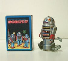 "1970's ROBOT 7 ORIGINAL ALL METAL TIN WIND-UP SCI-FI MINTinGoodBox 4""Tall Taiwan"