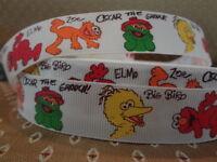 "5 yds 7/8-1"" Grosgrain Ribbon Sesame Street Characters Elmo Zoe Big Bird Oscar"