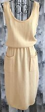 Vintage St. John Knit Sweater Dress Sleeveless Tank Stretch Yellow Gold Small