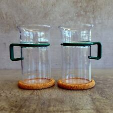 2 Vintage Bodum Bistro Coffee Glass Green 300mls original cork coasters  Retro