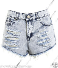 Size 6 8 10 12 14 NEW HIGH WAIST SHORTS Ladies DENIM RIP high WAISTED HOTPANTS