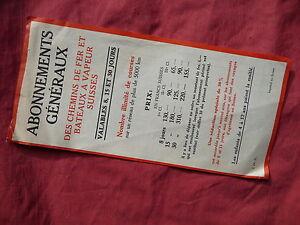 abonnements généraux CHEMINS DE FER ET BATEAUX A VAPEUR SUISSES 1937
