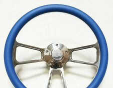 "Blue Steering Wheel 14"" Billet Muscle Style Wheel with Chevy SS Horn & Adapter"