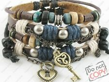 Lot 2 Couple Jewelry Surfer Tribal Hemp Leather Bracelet Wristband Mens Womens