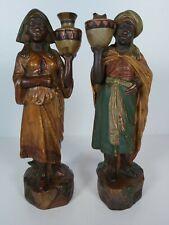 A Pair  Of Terracotta Blackamoor Water Carrier Figurines, Possible Goldscheider