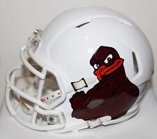 2012 Virginia Tech Hokies White Hokiebird Custom Riddell Mini Helmet