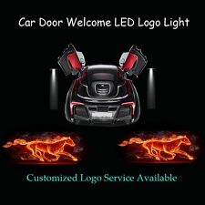 2x Flaming Pony Horse Logo Car Door Laser Projector Shadow LED Light for Mustang