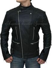 Button Leather Biker Jackets for Men