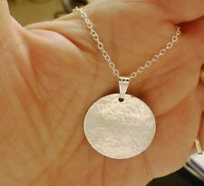 Large Hammered Round Disc Circle Necklace with 925 Sterling Silver