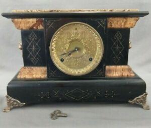 Antique Seth Thomas Adamantine Mantel Clock Faux Marble Huge Brass Face ~ Repair