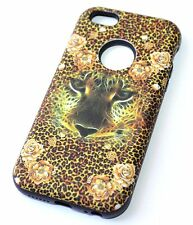 For iPhone 5S / 5C / SE - HARD TPU GUMMY RUBBER HYBRID CASE BROWN LEOPARD ROSE