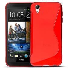 Handy Hülle für HTC Desire 728 G Silikon Case Slim Cover Schutz Hülle Tasche Rot