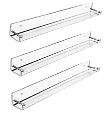 Amt Acrylic Floating Wall Display Shelves (3 Pack, Small) | Clear Acrylic Wall