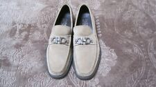 Mens Salvatore FERRAGAMO DIEGO Beige Leather(Suede) Horsebit Loafer SIZE 13 D