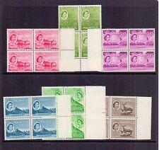 MAURITIUS 1953-54 DEFS. MARGINAL BLOCKS OF 4 ( 6 ) MNH