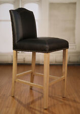 5 x Bar Stools Oak Leather Upholstered French Provincial Furniture Barstool NEW