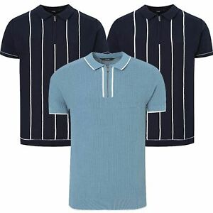 George Mens Zip Up Knitted Polo Shirt Sweater Short Sleeve Jumper Stripe Cotton