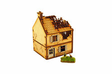 WW2 SMALL HOUSE DESTROYED 15mm Building Terrain Flames of War N510
