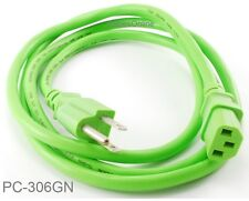 6ft 3-Conductor AC Power Cable, 18AWG, NEMA 5-15P to IEC C13, Green, PC-306GN