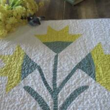 """Large Vintage Yellow Carolina Lily Table QUILT 23x25"""" RUNNER Farmhouse Cottage"""