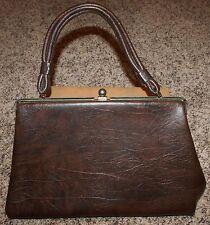Vtg mid-century 1950s DOVER USA brown vinyl kiss lock metal frame handbag purse