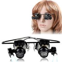 20x fach Juwelier Uhrmacher Lupe Brillenlupe Lupenbrille Reparatu LED Licht