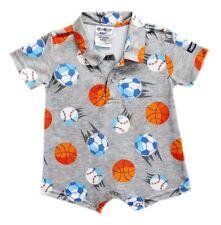 Oshkosh B'gosh Printed Gray Balls Collared Romper Infant/Baby Boy Clothes 12 mos
