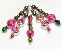 Vintage PINK INDENT Mercury Glass Bead Icicle 5 Christmas Ornaments Green
