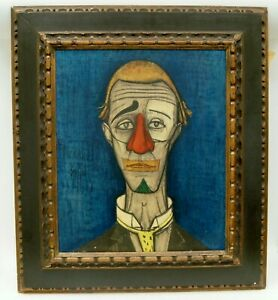 """Bernard Buffet """"Le Clown Bleu/Tete de Clown"""" Lithograph on Board 31x27"""" C1452"""