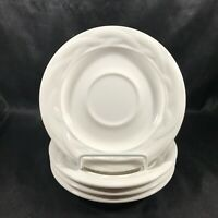 Set of 4 Discontinued Pfaltzgraff ACADIA White Weave Saucers