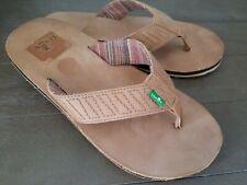 Sanuk Leather SANDALS FLIP FLOPS SHOES  Mens 9 M Leather Colt Tan
