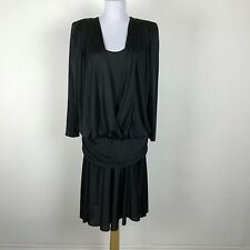 Vintage 1980s David Rose Dress Size L Black Draped Cocktail Party Long Sleeve