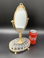 large Glass Mirror Oval Brass Vanity steampunk vintage makeUp