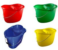 Industrial Plastic Mop Bucket & Wringer 15lt Colour Coded Blue Red Green Yellow