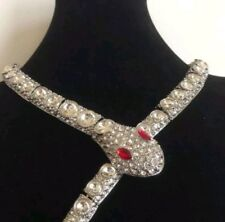 GIFT  Designer  Style red eye snake Statement necklace Crystal