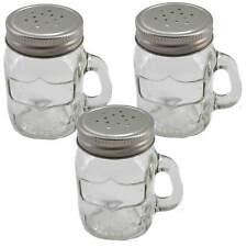 3x Gewürzstreuer Glas Schraubdeckel Henkelglas 8cm Garten Grillen Salzstreuer