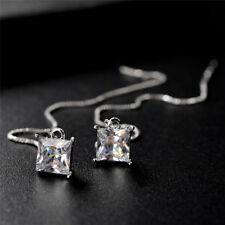 Silver Crystal Dangle Drop Earrings Wedding Long Earrings Bridal Jewelry