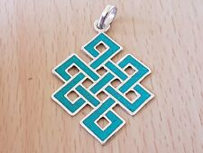 TIBETAN BUDDHIST ENDLESS KNOT LOCKET & Jewellery Pouch TURQUOISE PENDANT
